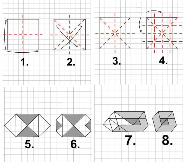 Как сделать коробочку из бумаги-видео
